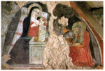 Fresque de la Nativité, Maestro de Narni, Greccio, Italie.