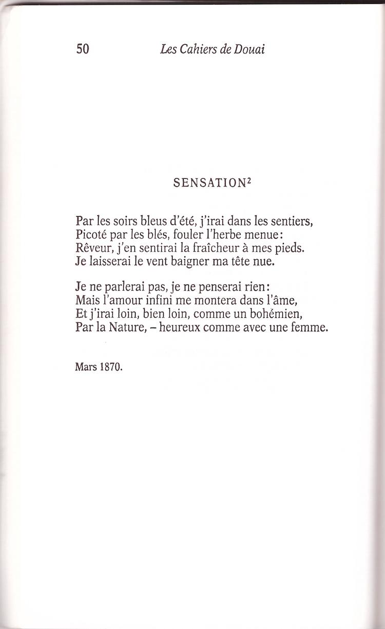 Sensation Rimbaud Cahiers Libres