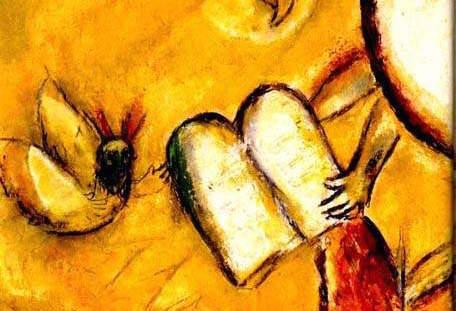 Marc Chagall, Dieu donnant sa Parole à Moïse.
