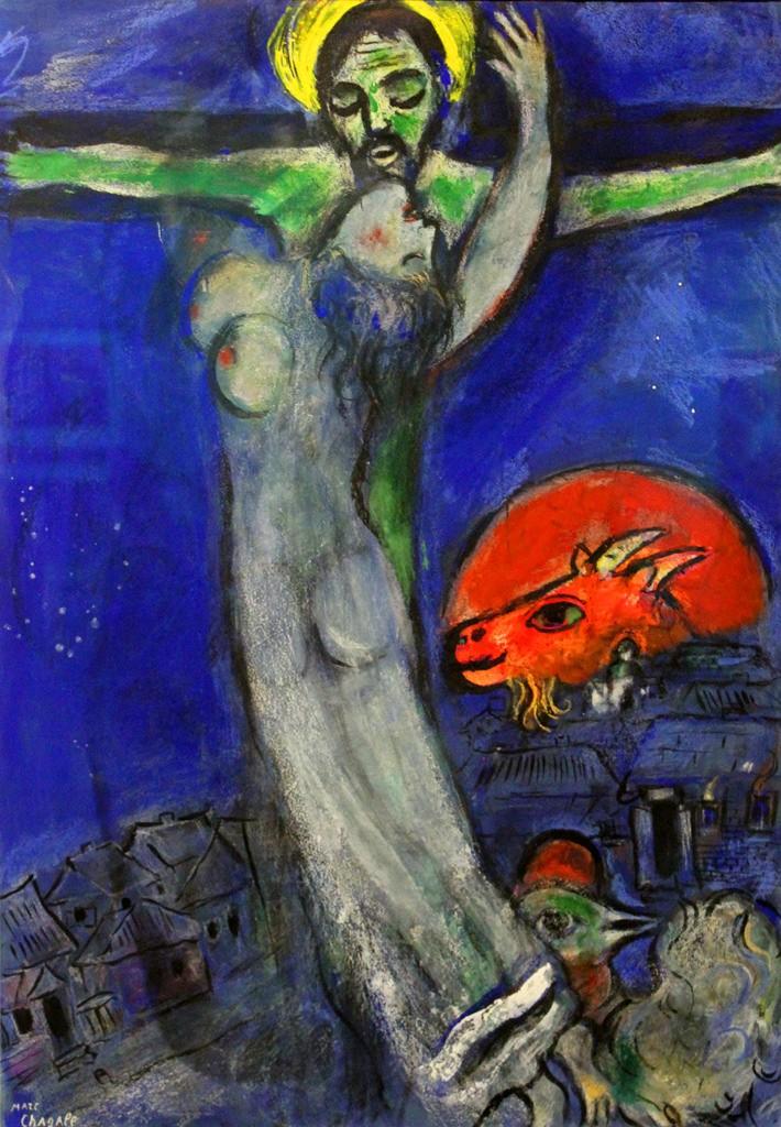 Chagall, Christ au ciel bleu et à la chèvre rouge, 1950.