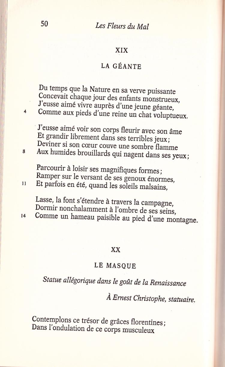 La Géante Charles Baudelaire Cahiers Libres