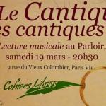 Soirée Cahiers Libres : autour du Cantique des cantiques – 19 mars –